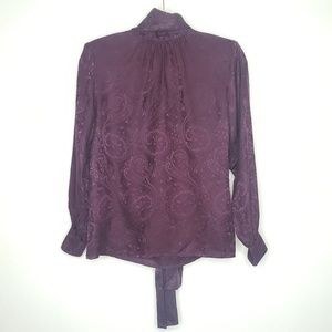 VINTAGE PURPLE SILK TOP PAISLEY MOCK TIE NECK